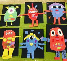 Loving these #1stgrade shape monsters! #artclass #shapes #kidsart #teachersfollowteachers #collage #artforchildren #artteachersofinstagram