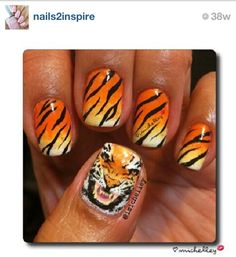 Tiger stripe nail art perfect for tournament time neat tiger nail art prinsesfo Choice Image
