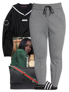 """""""Untitled #750"""" by trinsowavy ❤ liked on Polyvore featuring Michael Kors, Gucci, NIKE, adidas Originals and plus size clothing"""