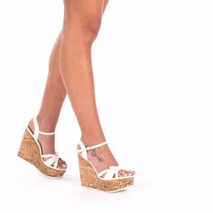Features Bow Details Heel type Wedge Style Peep-toes Event Casual Summer Fashion Heel height 5 3 Inches Color White Material Synthetic Leather