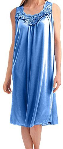 5e1fa07f3f EZI Women s Satin Silk Sleeveless Lingerie Nightgown at Amazon Women s  Clothing store  Silk Fabric