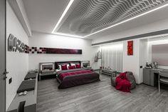 Apical Reform design the futuristic 1102 Penthouse in Ahmedabad, India - CAANdesign Futuristic Bedroom, Futuristic Interior, Bed Design, House Design, White Ceiling, Furniture Layout, Ceiling Design, Ahmedabad, Interior Design