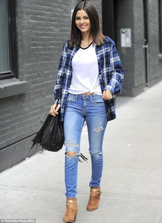 Nineties girl: Victoria Justice played off grunge style as she was spotted while out and a...