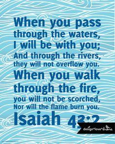 DIY Printable Digital Scripture Art Print file bible verse - Isaiah 43:2. $9.00, via Etsy.