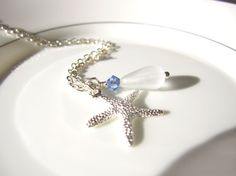 Sea glass starfish Necklace with Wedding white seaglass bead and sapphire swarovski crystal by SeaglassGallery, $22.00