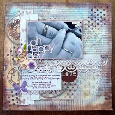 Oh Happy Day-My take on the once upon a sketch challenge #mixedmedia #scrapbooking
