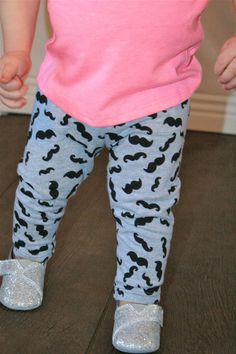 Leggings Boys or Girls Gray with Black Mustache by InspiredbyTess, $25.00...so much for saving money! ;)