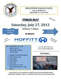 Belleview, FL - July 27, 2013: Belleview Foe 4251 & Eagle Riders Poker Run for MOFFITT Cancer Center Poker Run, Charity, Biker, Motorcycles, Cancer, Eagle, Events, Running, Cars