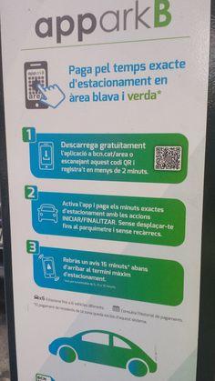 """La fotografia és d'un cartell sobre una aplicació en un parquímetre del carrer Roc Boronat de Barcelona. L'autor és l'Ajuntament de Barcelona i va adreçat totes aquelles persones no residents que estacionin el cotxe en zona verda o blava. Un encert és l'ajuda de la comprensió delt ext a partir de colors i, personalment, afegiria un un article davant de la paraula """"àrea""""."""