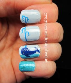 Creative Nail Design by Sue: Summer Challenge-Whales