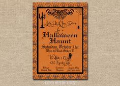 halloween invitation halloween digital invite by LisaMariesPaperie, $14.00