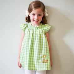 BLOUSE GREEN WHITE LARGE CHECKED