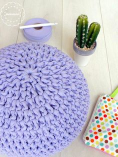 My new crochet pouf. Made with tshirt yarn