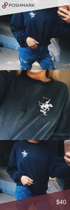 vintage polo crop pullover super cute and comfy vintage ashy black polo sport cropped pullover. so soft and trendy! super cool and versatile piece! extremely distressed sort of style, super retro! size medium, in perfect condition 🖤 Polo by Ralph Lauren Tops Sweatshirts & Hoodies
