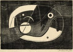 Untitled (abstract composition) 1935. Henry Butler. Linocut