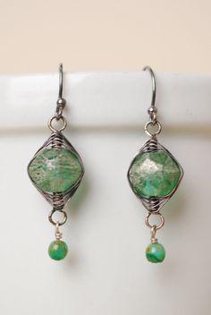 Mint Julep Herringbone Dangle Earrings