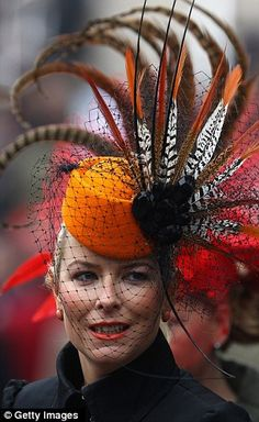Hats for Women: Cheltenham Races, England. Every year in March the. Crazy Hats, Church Hats, Fancy Hats, Kentucky Derby Hats, Wearing A Hat, Love Hat, Hat Pins, Headgear, Ladies Day