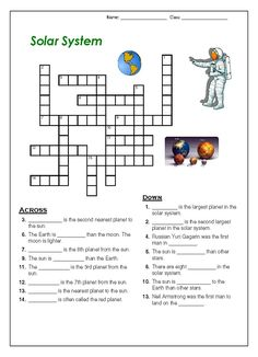 Solar system facts worksheet. Students are to fill in the