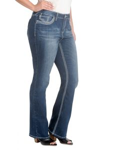 Plus Lola Slim Flare w/ Embroidery Detailed Back Pocket.   #denim #plussize #plus