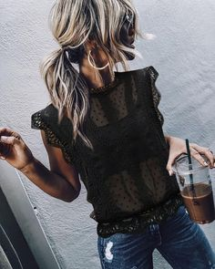 Elegant Lace Splicing Hollow Out See-Through Top – Ininruby Mode Outfits, Casual Outfits, Fashion Outfits, Womens Fashion, Fashion Trends, Fashion Tips, Spring Summer Fashion, Spring Outfits, Autumn Fashion