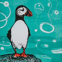 Louise Worthy 'Puffin Pose' Ink Monotype