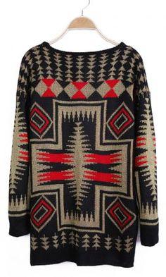 Red Long Sleeve Geo Pattern Metallic Yoke Sweater