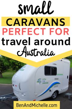 Have you thought about travelling Australia with just the smallest micro caravan, but still have all the conveniences of a larger caravan? We've found the smallest caravans available here in Australia, but still have a toilet, shower and internal kitchen. No need to haul a huge caravan when a small, light caravan will do just perfectly! Small caravans | Caravans Australia | Micro caravans Australia Small Caravans, Little Campers, Rv Campers, Mini Caravan, Small Travel Trailers, Caravan Makeover, Fuel Prices, Great Barrier Reef, Movies