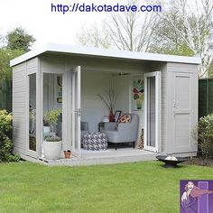 12 x 8 Waltons Contemporary Summerhouse mit Side Shed ., 12 x 8 Waltons Contemporary Summerhouse mit Side Shed When old around notion, your pergola have been going through a current rebirth most of these days. Shed Office, Backyard Office, Backyard Sheds, Outdoor Office, Backyard House, Backyard Playhouse, Summer House Garden, Home And Garden, Summer Houses