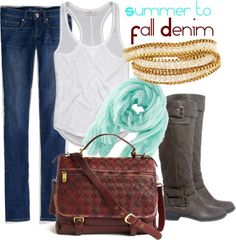 Denim is a great summer-fall fabric, and it can easily be paired with flowy summer tops, knee-high faux-leather boots, and oversized vegan bags for a relaxed look. A cold-weather accessory in a warm-weather shade, such as this wool-free scarf, is key to keeping this outfit season-neutral.