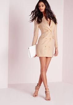Long Sleeve Tuxedo Dress Nude