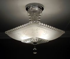 Vintage American Art Deco STARBURST CANDLEWICK Frosted Glass Ceiling Light Lamp Fixture Rewired