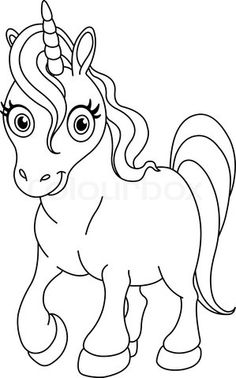 vector of outlined coloring page cute unicorn - Cute Baby Unicorns Coloring Pages