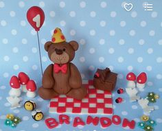 Picnic & Teddy Bear Fondant Cake Set by XbakesbyXimena on Etsy Fondant Teddy Bear, Party Needs, Gingerbread Cookies, Cake Toppers, Picnic Blanket, Sculptures, Teddy Bears, Toys, Handmade Gifts