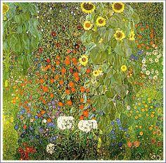 Gustav Klimt グスタフ・クリムト : 「ひまわりの咲く農家の庭」