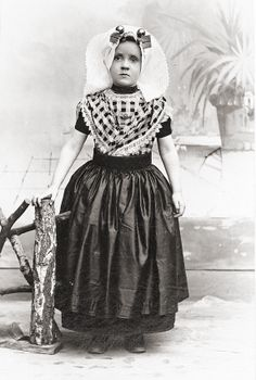 Girl in traditional Zeeland dress (Holland), c1900.  Photographer: F. Machielse, Goes.