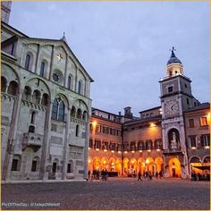 """Modena Piazza Grande at dusk. A #UNESCO World Heritage Site, it's one of the most beautiful squares in Italy (at least, in my opinion). I could sit there for hours, surrounded by these magnificent buildings."" Today's #PicOfTheDay #turismoer admires #PiazzaGrande in #Modena at dusk.  Congrats and thanks to @1step2theleft"