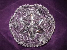 Small Bowl, American Brilliant Period, Star of David, Heavy Thick Cut Crystal, Sawtooth Edge, Reflects Colors in Light, Bowls, Antique by BackStageVintageShop on Etsy