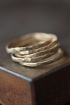 Hammered 14kt Yellow Gold Stacking Ring- wedding band- bridal jewelry- hammered- simple- recycled- modern. $112.00, via Etsy.