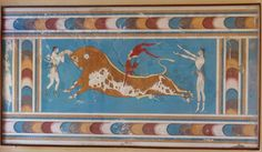"""From the Palace of Knossos, the famous """"bull leapers"""" fresco from the East wing of the palace, dated around 15th century B.C.  The different phases of the sport are shown. The bull leapers are both men and women."""