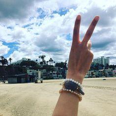 Peace out Santa Monica ✌️#christinamarlene #handmadejewelry #vacayjewelry #stackables #agate #santamonica #la #california #peace