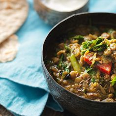 Madhur Jaffrey's healthy and vegetarian Green Lentil Curry with Kale. Eat as a curry or convert into a soup with a mugful of hot water.