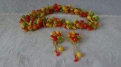 Vintage Celluloid Fruit Salad Necklace and Earrings Set Western Germany   eBay