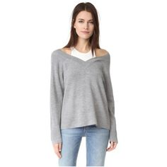 T by Alexander Wang V Neck Sweater with Tank Trim ($275) ❤ liked on Polyvore featuring tops, sweaters, heather grey, long sleeve slouchy top, slouchy tops, slouchy v neck sweater, t by alexander wang sweater and layered sweater