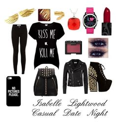 Isabelle Lightwood: Casual Date Night by munke on Polyvore featuring polyvore, fashion, style, Rotten Roach, Yves Saint Laurent, Jeffrey Campbell, Cartier, Casetify and NARS Cosmetics