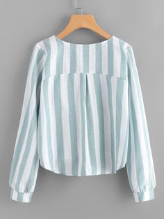 Shop Contrast Stripe Tassel Tie Surplice Blouse at ROMWE, discover more fashion styles online. Casual Hijab Outfit, Blouse Outfit, Casual Dresses, Casual Outfits, Batik Fashion, Hijab Fashion, Fashion Outfits, Blouse Styles, Blouse Designs