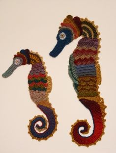 Freeform crocheted Seahorses by Ann*Benoot, inspired by Zentangle Drawing of power animals. Textile art 'painting' 40x50 cm