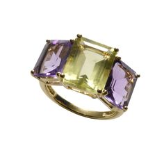 Ancient Egyptians used amethyst to guard against guilty and fearful feelings.  Feel guilt-free with this Asha amethyst& lemon quartz emerald cut ring! On Sale $297 www.cbluxe.com
