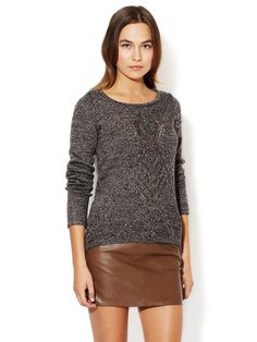 Textured Knit Detail Curved Hem Sweater by Avaleigh at Gilt