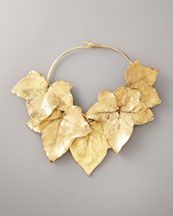 Gold ivy leaf necklace by Aurelie Bidermann - would be beautiful with a simple dress!