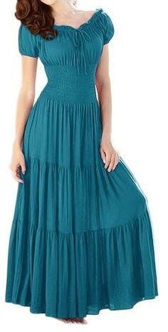 Peach Couture Gypsy Boho Cap Sleeves Smocked Waist Tiered Renaissance Maxi Dress Teal, Medium